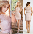 Vestidos De Festa Curto 2016 Top Quality Lace Short Cocktail Dresses Blush Pink Sheath Sexy Party Dress For Women Fast Shipping