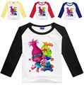 2-8 YearsTrolls T Shirts for Girls and Boys Full Cartoon Clothes Kids Cotton100% Printed Long Sleeve Sport Shirt Trolls Clothes