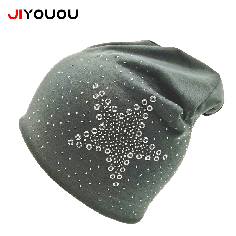 Winter wool Skullies cap cotton brimless brim balaclava  diamond  five pointed star ear hats spring for women Beanies skullies