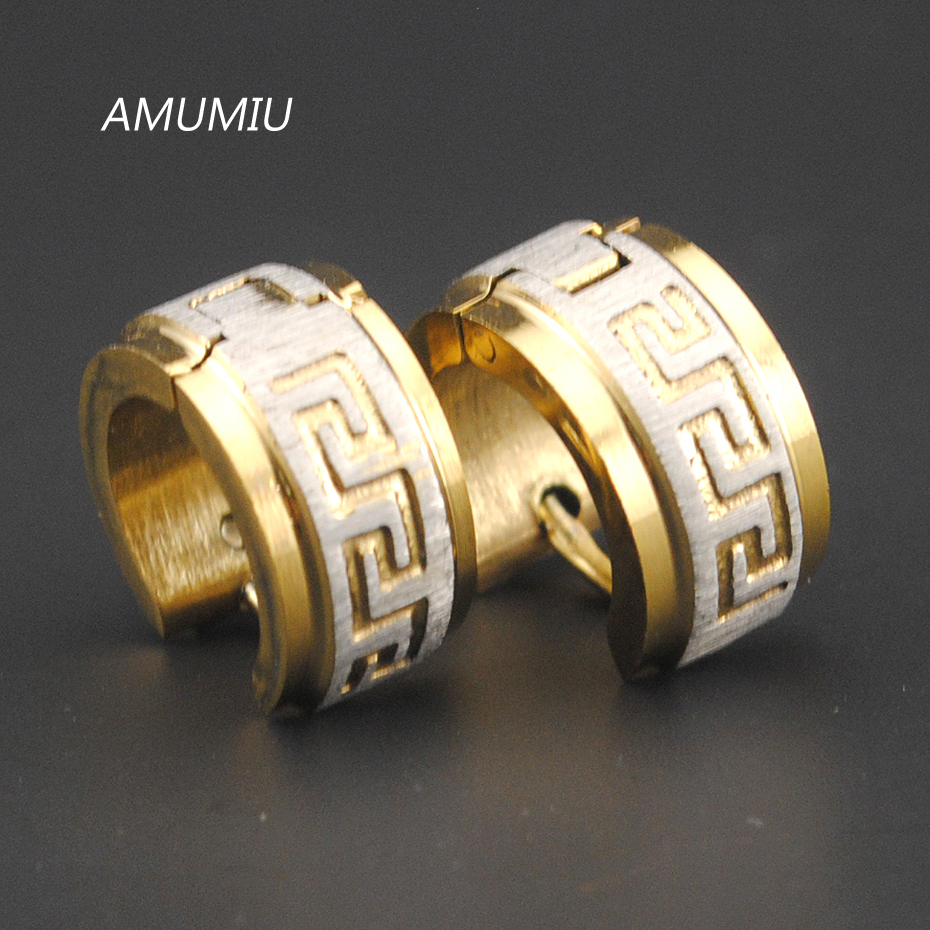 AMUMIU Stainless Steel Earrings Stud pendientes brincos jewelry 2017, Round Greek Key Women or Men Earrings Punk Rock HE007