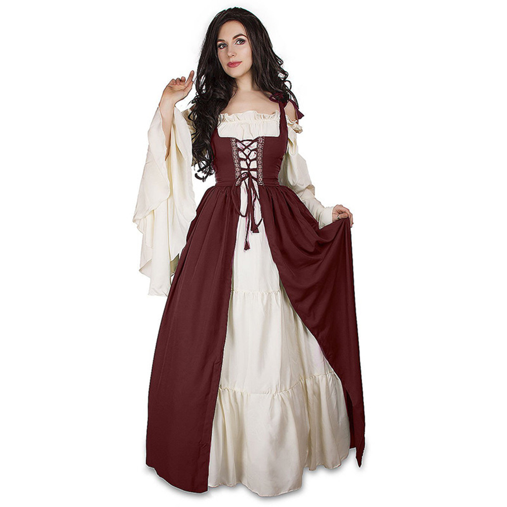 Women Medieval Victorian Halloween Dress Ladies Square Collar Bandage Corset Renaissance Vintage Dresses Cosplay Costume Vestido