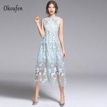 2019 OKOUFEN Womens Summer New High Waist Heavy Duty Embroidered Gauze Maxi Dress Sleeveless