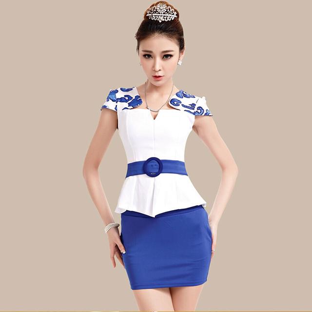 Frete grátis nova moda verão azul das mulheres ternos carreira saia OL Blazer e saia escritório revestimentos do revestimento Apricot Plus Size conjuntos