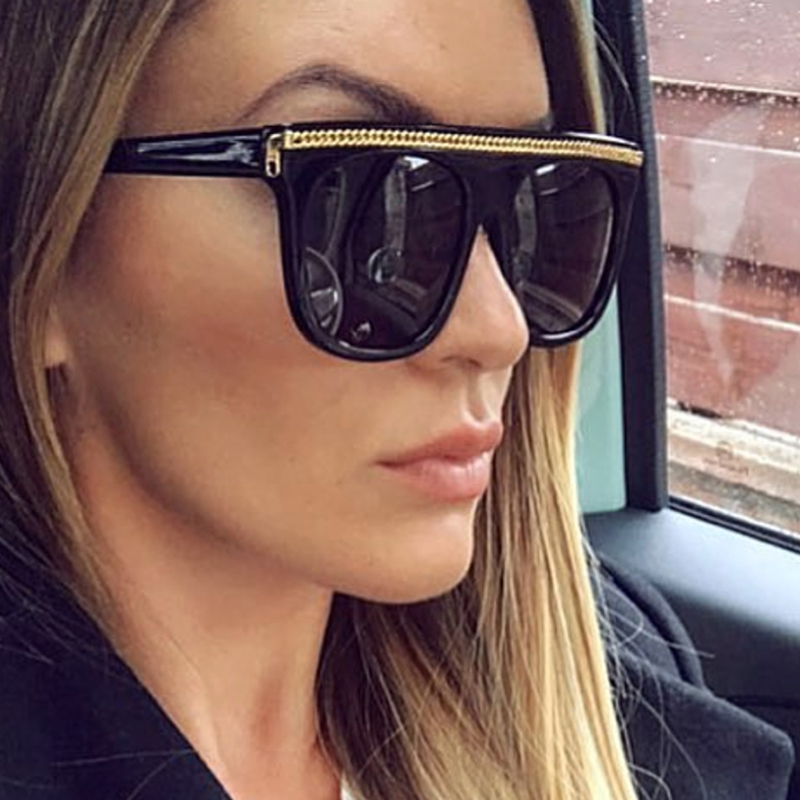 QPeClou 2018 New Big Frame Unique Square Sunglasses Women Fashion Chain Oversized Sun Glasses Men One Piece Oculos