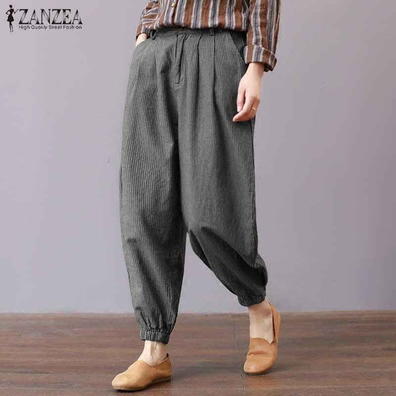 2018 ZANZEA Women Summer Vintage High Waist Casual Loose Striped Harem Pants Trousers Work Pantalon Turnip Palazzo Plus Size