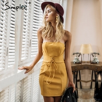 Simplee Sexy Strapless Lace Up Bodycon Dress Women Elegant Bow Backless Beach Dress Female Club Party