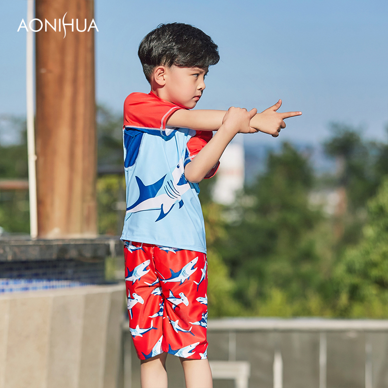 026d47a0371 ... Two Pieces Bathing Suits Short Sleeve Cartoon Kids Beach Swimming Suit.  sku  32960427396