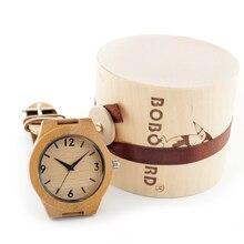 Marca mujeres de bambú hechos a mano de madera relojes con venda del cuero genuino regalos de madera caja