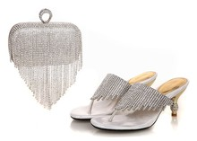 High Quality African Shoes And Bag Set To Match Silver Color Italian Shoes With Matching Bags Set Size 37-43  SL15-01