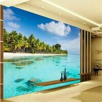 Beibehang Large Custom Wallpaper Mural Any Size 3D HD Seaside Coconut Beach Living Room Bedroom Sofa