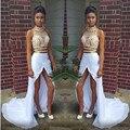 S New Arrival Robe De Soiree duas peças 2016 vestidos alta Neck tribunal trem branco Chiffon ouro Beads vestidos formais S7022606