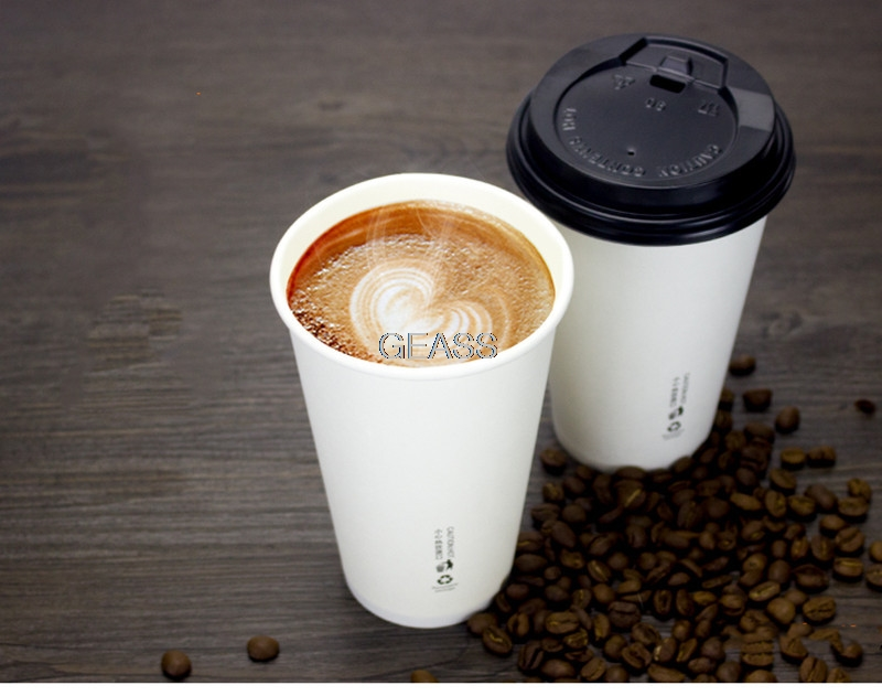 100pcs Disposable Tea Cup Pack Coffee Thicken Hot Drink White Paper Cup with Cover Straw