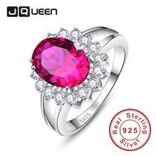 Jqueen Принцесса Диана Уильям Кейт Миддлтон 3.95ct создан красный рубин Обручение 925 Серебряное кольцо для Для женщин подарок