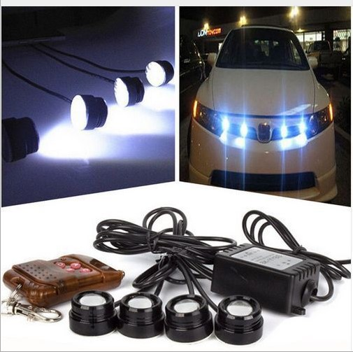 FUGSAME led drl 4*12W strobe flash eagle eye LED car light with Remote control 100% waterproof DRL warning light bulb white