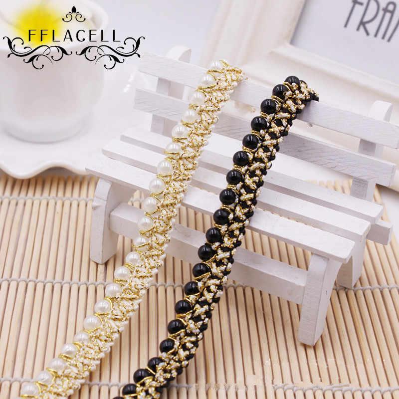 Fflacell 1ヤード真珠ビーズトリム縫う上のリボン用diy布ウェディングドレスベルトワイド1.5センチ