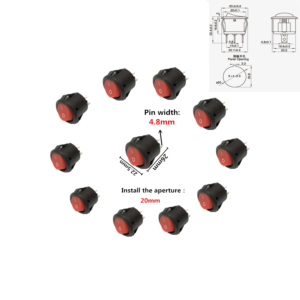 10PCS AC 250V/3A 2 Pin Mini Round ON-OFF Rocker Switch 16mm Diameter Small Round Boat Rocker Swiches AC125V/6A 5 pcs ac 6a 250v 10a 125v 3 pin black button on on round boat rocker switch
