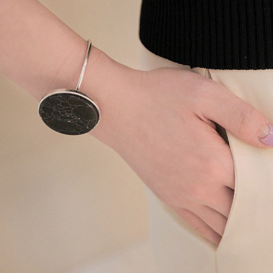 Accessories wholesale Black and white marble grain stone <font><b>bracelet</b></font> open female hand <font><b>ring</b></font> <font><b>bracelet</b></font> in Europe and America image