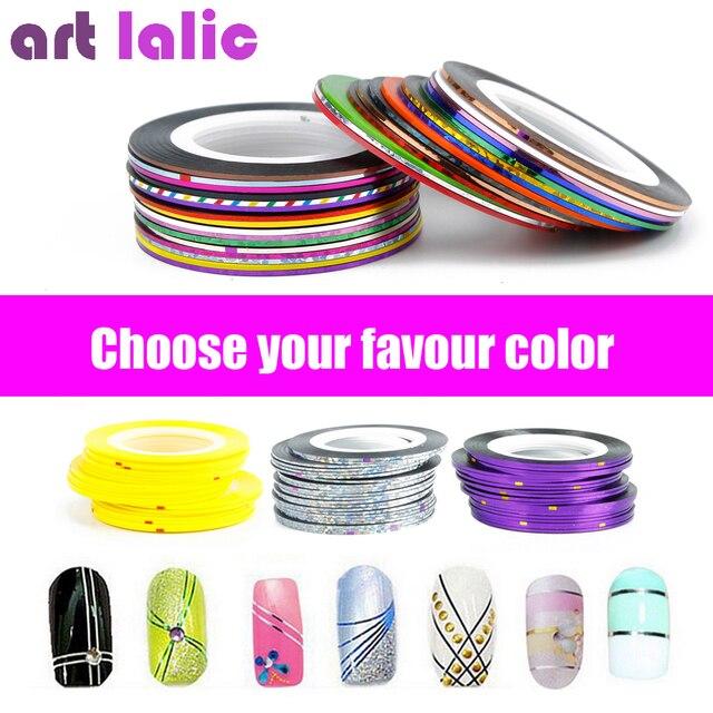 1 hoja de bandas de cinta de línea de uñas de arte pegatinas pegatina decoración de DIY polaco brillo UV Gel acrílico uñas elegir colores