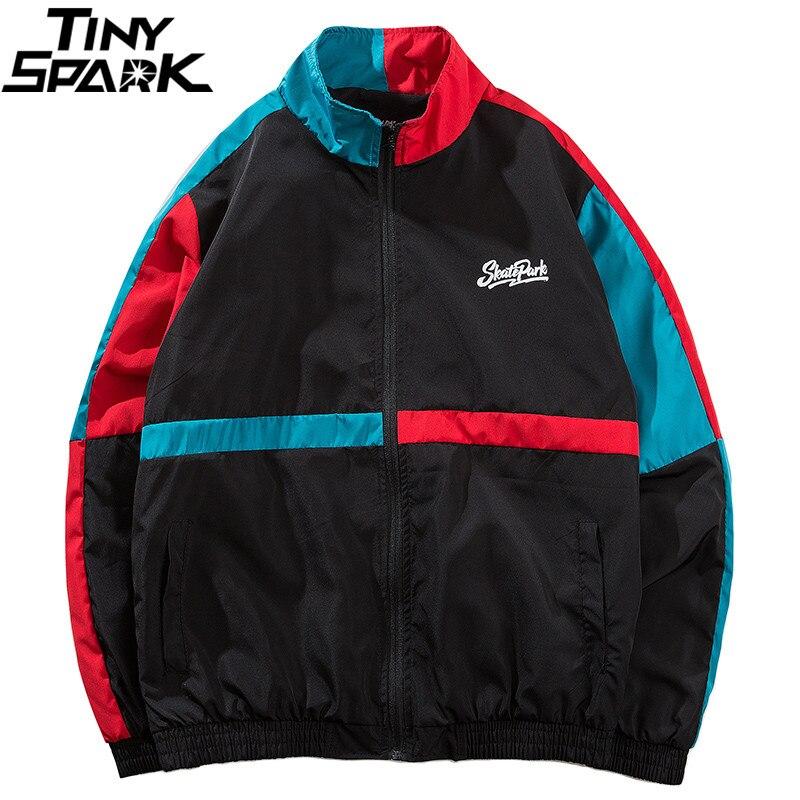 Hip Hop Mens 2018 Autumn Windbreaker Jacket Vintage Color Block Patchwork Jackets Coats 90s Casual Track Jackets Full Zipper Up
