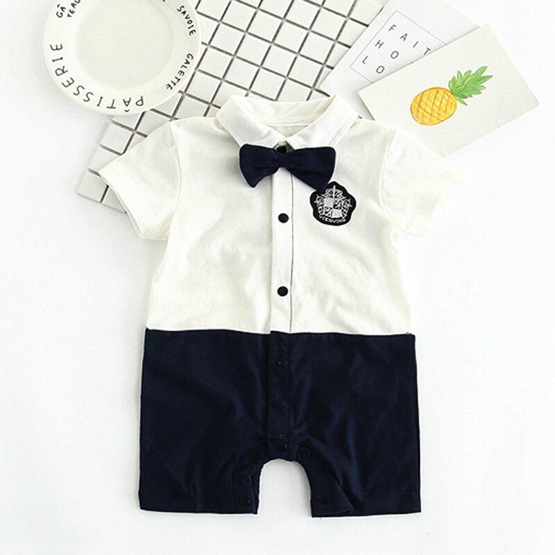 YiErYing nouveau-né combinaisons mode été à manches courtes coton noeud papillon Gentleman fête vêtements garçon bébé barboteuse tenues costumes