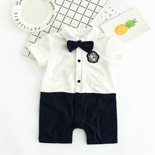 цены YiErYing Newborn Jumpsuits Fashion Summer Short Sleeve Cotton Bow Tie Gentleman Party Clothing Boy Baby Romper Outfits suits