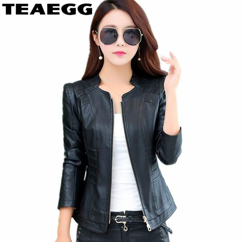 TEAEGG Slim Autumn Jacket   Leather   Woman 2019 Black   Leather   Jacket Women Clothes Plus Size 4XL Faux Womens   Leather   Jackets AL31