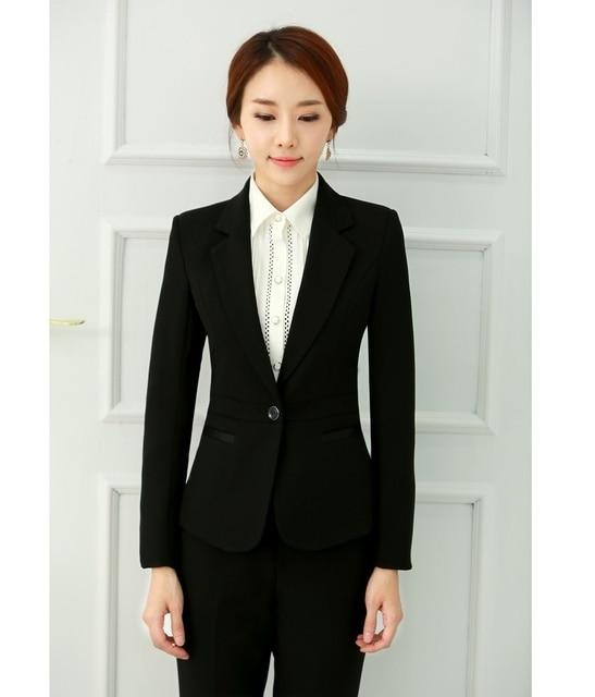 Otoño y el invierno Formal mujeres trajes de negocios pantalón y Blazer  establece elegante para mujer 7d4d5db15efd