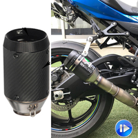 ID: 51mm Short Universal Motorcycle Exhaust Muffler pipe Laser AR Austin Racing Escape moto For BMW Yamaha Honda Kawasaki Suzuki