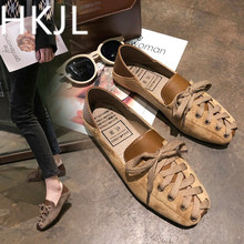 HKJL 2019 foot pedal new all-in-one spring and summer female students square mouth flat bottom single casual shoes A250