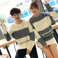 2018 Autumn And Winter Men's New Korean Version Of The Color Couple Sweater Fashion Youth Casual Loose Personality Temperament