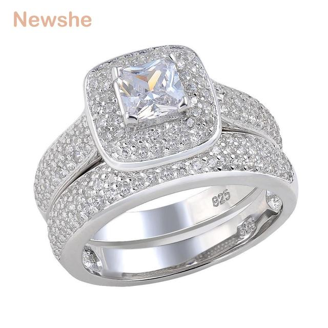 newshe 226 ct princess cut aaa cz 925 sterling silver halo wedding ring set engagement band - Halo Wedding Ring Sets