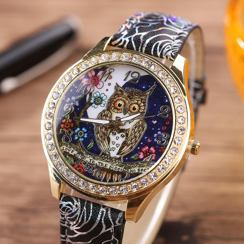 Unparteiisch Männliche Und Weibliche Luxus Universal Cartoon Eule Paar Modelle Diamant Quarz Armbanduhren Relogio Masculino Digitale Herrenuhren Um Jeden Preis Uhren