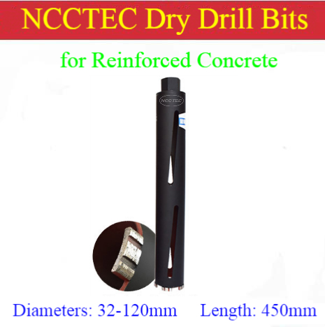 32-120mm*450mm NCCTEC Crown Laser Welded Diamond DRY Drilling Bits/1-1/4''-4.7''*18'' Reinforced Concrete DRY Core Drill Bits