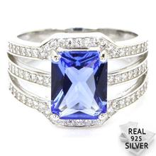 5.0g Real 925 Solid Sterling Silver Deluxe Top Blue Violet Tanzanite CZ Woman's Rings US 7#  20x14mm blue cz eyes 925 sterling silver halloween jason mask biker ring 9d205 us size 7 5 13