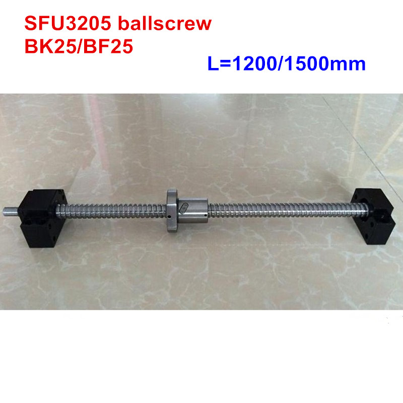 SFU3205 - 1200mm 1500mm ballscrew with end machined + BK25/BF25 Support CNC parts sfu3205 1200mm 1500mm ballscrew with end machined bk25 bf25 support cnc parts