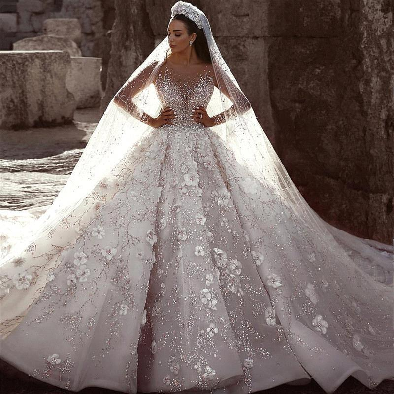Glamorous Luxury Dubai Arabic Ball Gown Wedding Dresses 2019 Heavy Beaded Long Sleeve Bridal Wedding Gowns With 3D Flowers