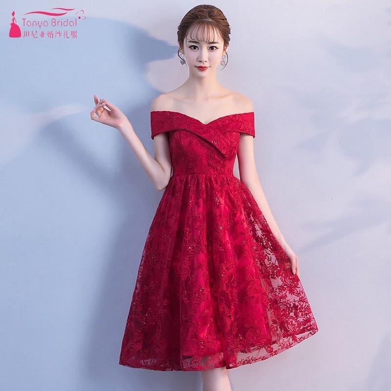 Simple Style A Line Short Red Lace   Bridesmaid     Dresses   robe demoiselle d'honneur   dress   for wedding party DQG498