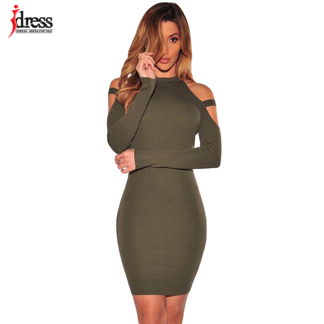 62bf203cbacf IDress 2017 Sexy Dresses Club Factory Online Shopping Solid Color Bodycon  Bandage Dresses Long Sleeve Elestic Green Party Dress