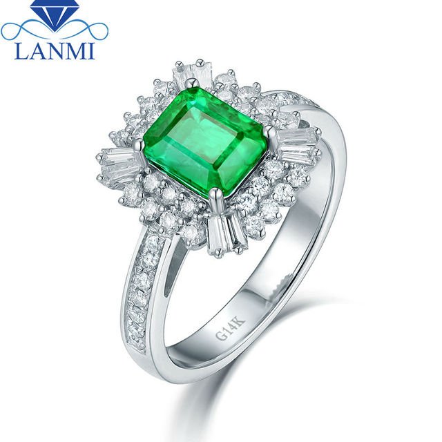 lanmi solid 14kt white gold green good quality emerald wedding ring real roundbaguette diamond gem new - Emerald Wedding Rings