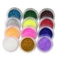 12 Cores Glitter Nail Art Tool Kit Acrílico Poeira Gem Ferramentas de Unha polonês Prego 3D Decorações Da Arte Do Prego Brilho Em Pó WY207
