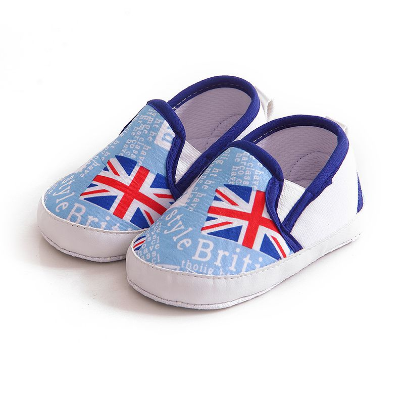 Kids Baby Soft Bottom Walking Shoes Boy Girl Striped Anti-Slip Sneakers A pedal Leisure Baby Soft Flag Printed Prewalkers