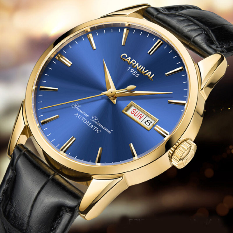 Luxury Carnival Brand Mechanial Watch Men Classic Blue Dial Day-Date Luminescence Japan Miyota 25 Jewels Clock Reloj Hombre blue indian luxury headpieces king queen unisex cosplay costumes diamond feather headdress for women and men peagents carnival