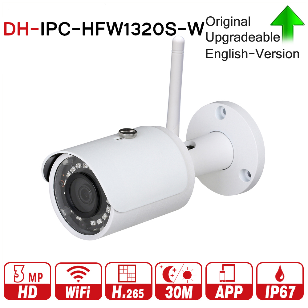 DH IPC-HFW1320S-W HD Mini Bullet IP Camera WiFi Onvif PSIA CGI Protocol IR Range 30M MAX Wi-Fi With dahua Logo DH-IPC-HFW1320S-W dahua 3mp network ir bullet camera ipc hfw1320s freeship poe original english version dh ipc hfw1320s dahua ip camera