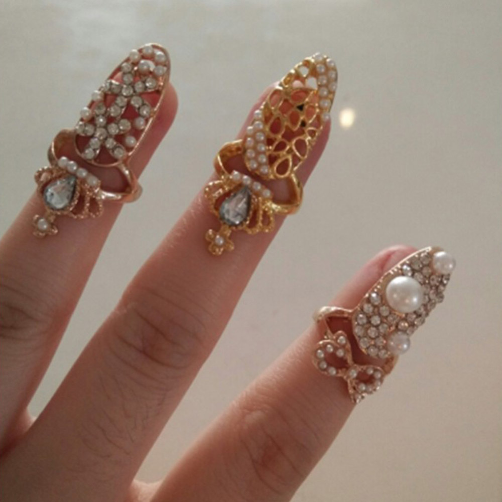 1PC Women Nail Ring Charminng Jewelry Bowknot Crown Crystal Finger ...