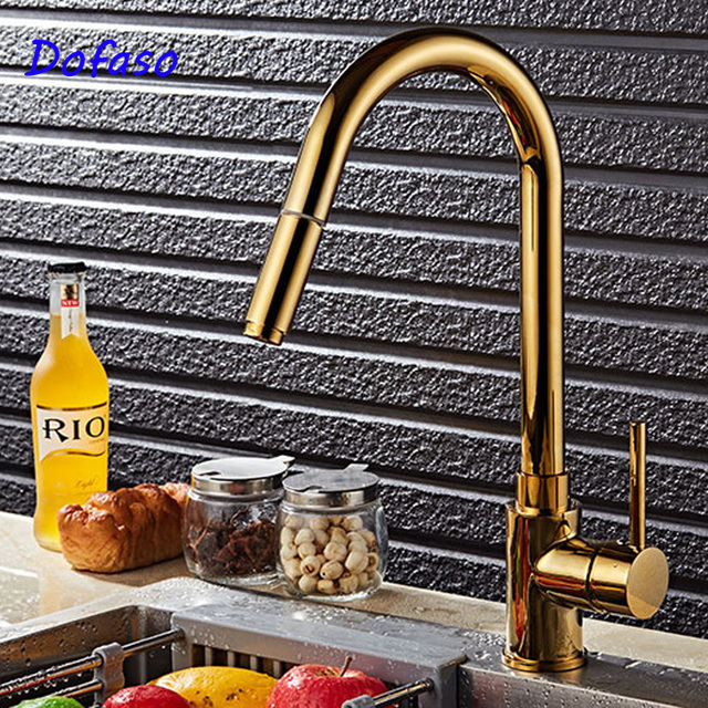 Dofaso Luxury Kitchen Sink Faucet Gold Kitchen Faucet Pull Out Tap