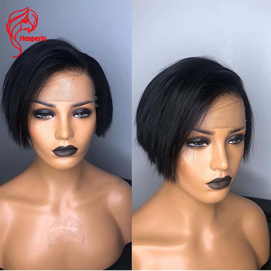Hesperis 13x6 Lace Front Wigs Pre Plucked Short Pixue Cut Bob Wigs Brazilian Remy Lace Front Human Hair Wigs With Baby Hair