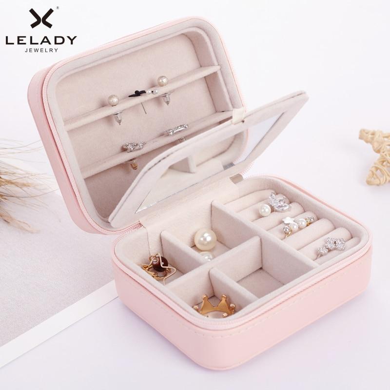 купить LELADY Small Jewelry Box Zipper Leather Jewelry Storage Organizer Box Portable Travel Jewelry Case with Mirror Gift Box For Girl по цене 873.77 рублей
