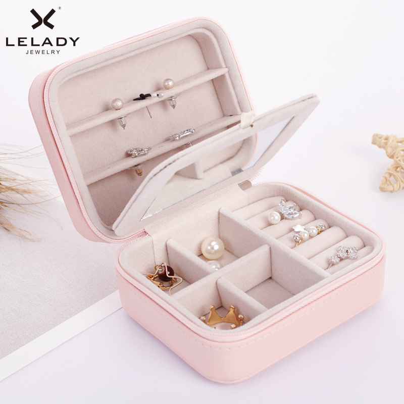 LELADY Small Jewelry Box Zipper Leather Jewelry Storage Organizer Box Portable Travel Jewelry Case with Mirror Gift Box For Girl ...