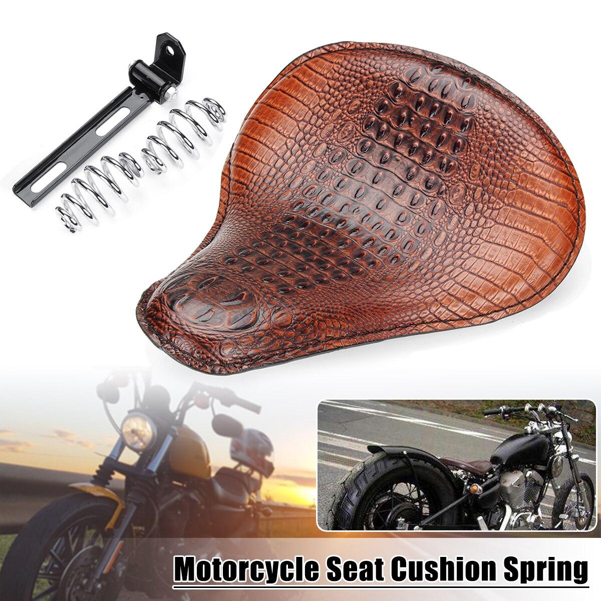 Universal Motorcycle Crocodile Leather Style Saddle Solo Seat Cushion Spring for Harley/Honda/Yamaha/Kawasaki universal motorcycle crocodile leather style saddle solo seat cushion spring for harley honda yamaha kawasaki