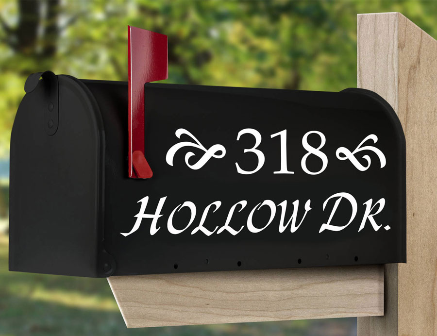 Set of 2 Custom Mailbox Address Vinyl Decal Stickers Mail Box Vinyl Numbers Curb Appeal Decals EM04